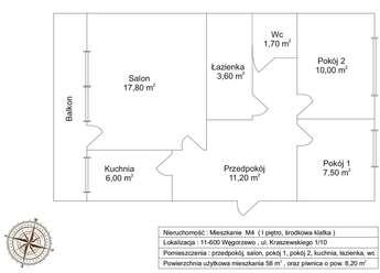 Węgorzewo: Mieszkanie - na Kraszewskiego (3 pokoje)